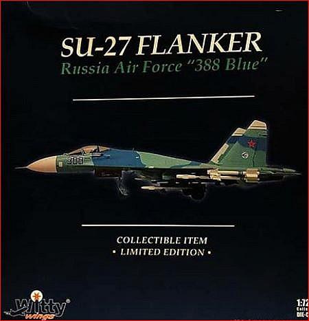 """Военный самолет Су 27 Российских ВВС """"388 blue"""" 1:72 Производитель Witty wings (Китай)"""